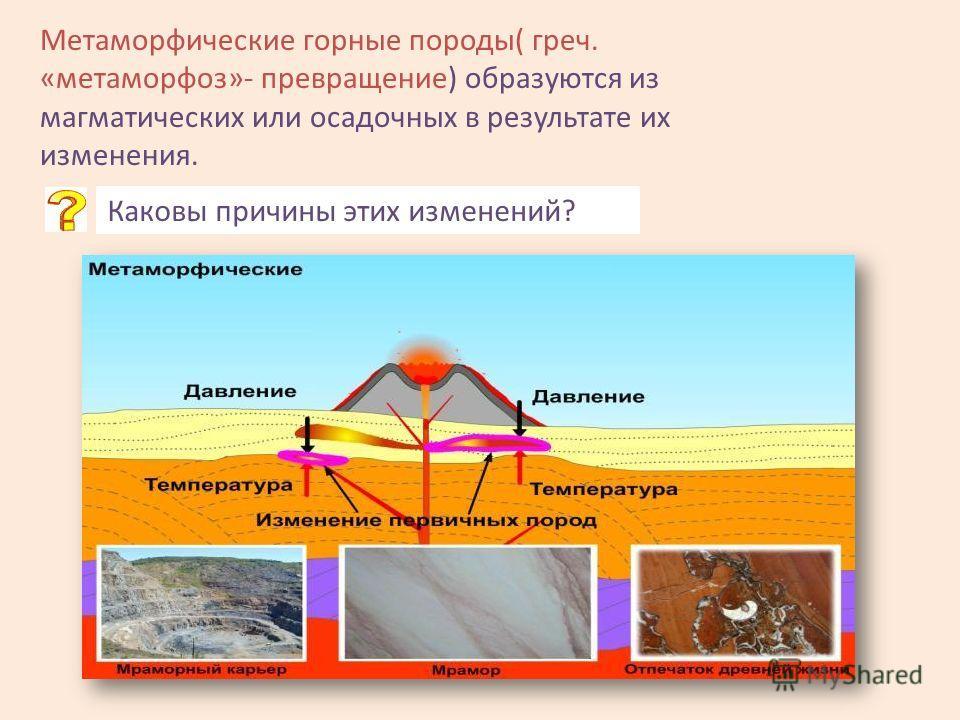 Метаморфические горные породы( греч. «метаморфоз»- превращение) образуются из магматических или осадочных в результате их изменения. Каковы причины этих изменений?