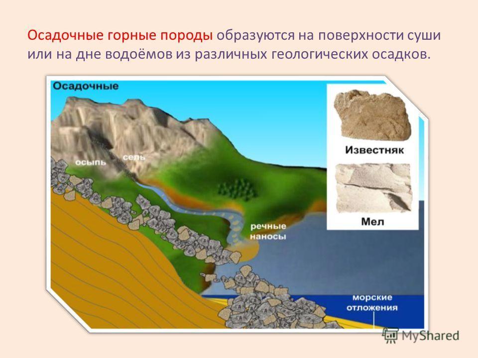 Осадочные горные породы образуются на поверхности суши или на дне водоёмов из различных геологических осадков.