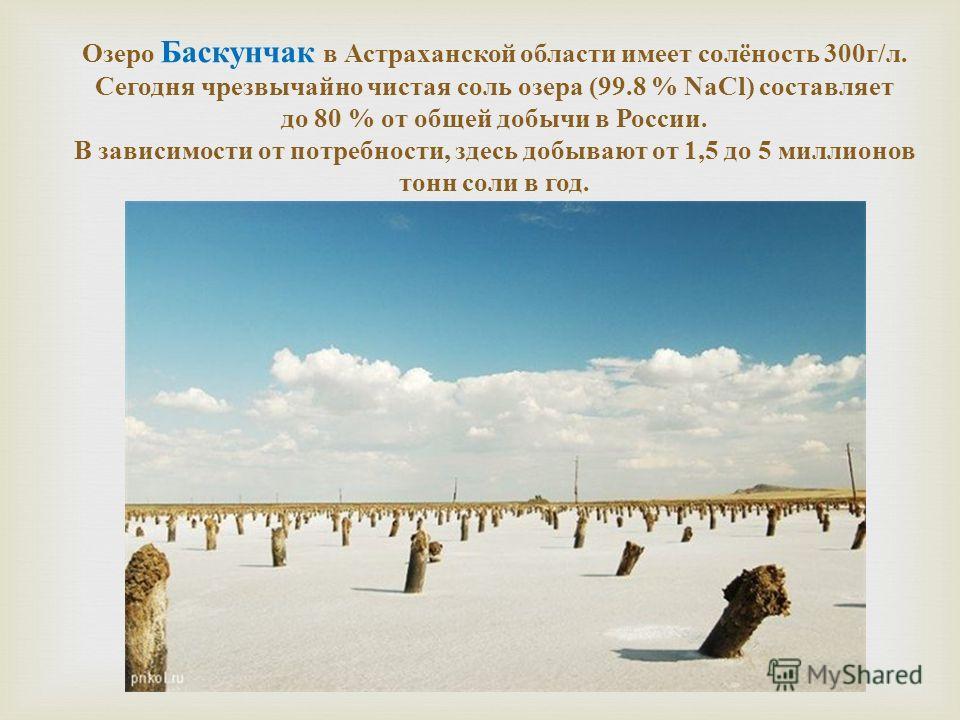 Озеро Баскунчак в Астраханской области имеет солёность 300 г / л. Сегодня чрезвычайно чистая соль озера (99.8 % NaCl) составляет до 80 % от общей добычи в России. В зависимости от потребности, здесь добывают от 1,5 до 5 миллионов тонн соли в год.