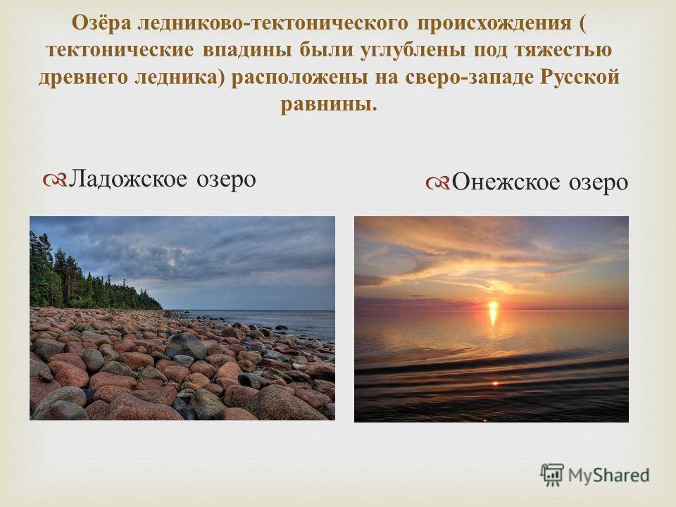 Озёра ледниково - тектонического происхождения ( тектонические впадины были углублены под тяжестью древнего ледника ) расположены на сверо - западе Русской равнины. Ладожское озеро Онежское озеро
