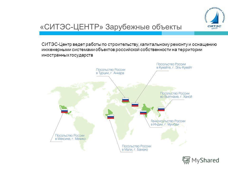 «СИТЭС-ЦЕНТР» Зарубежные объекты СИТЭС-Центр ведет работы по строительству, капитальному ремонту и оснащению инженерными системами объектов российской собственности на территории иностранных государств