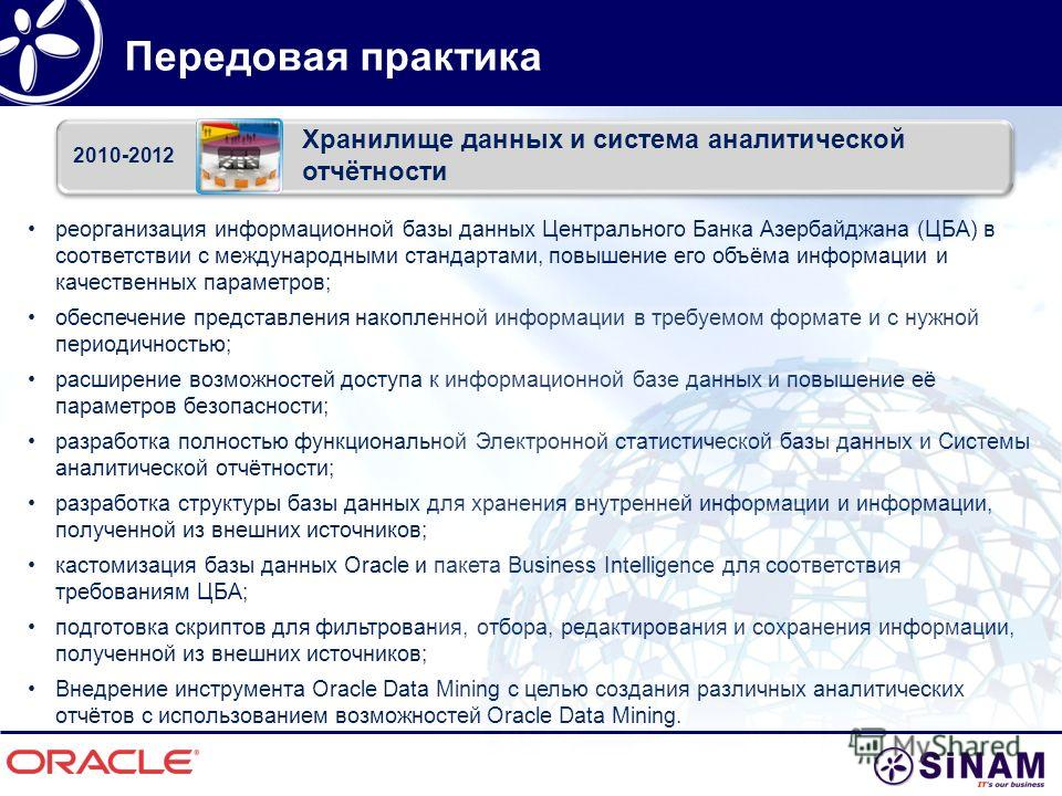 Передовая практика реорганизация информационной базы данных Центрального Банка Азербайджана (ЦБА) в соответствии с международными стандартами, повышение его объёма информации и качественных параметров; обеспечение представления накопленной информации