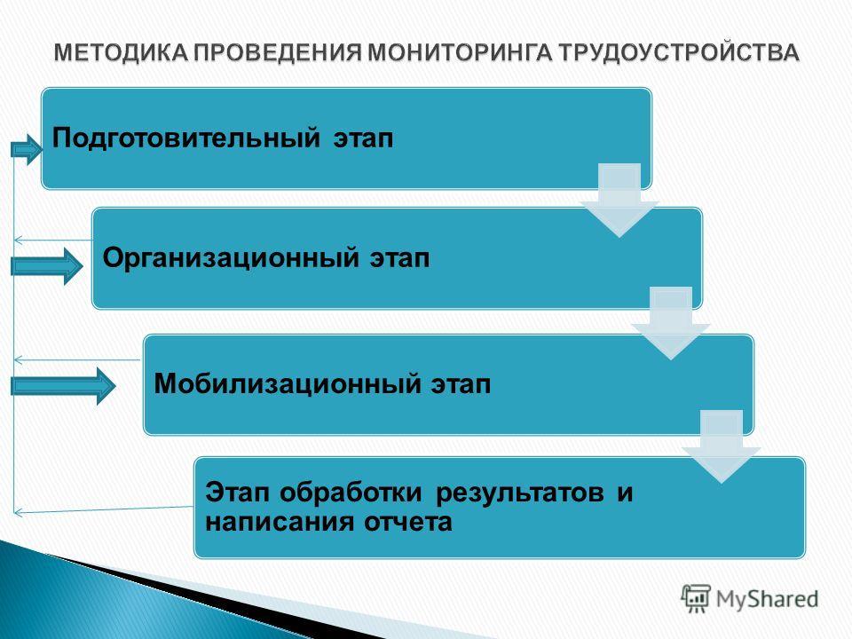 Подготовительный этапОрганизационный этапМобилизационный этап Этап обработки результатов и написания отчета