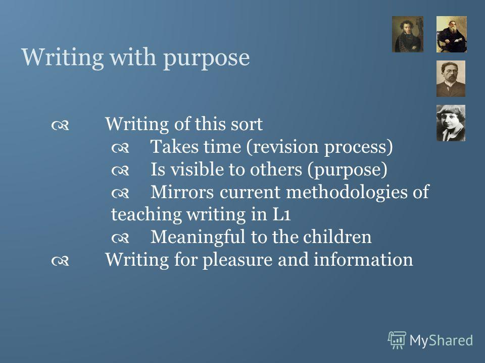 Writing with purpose Writing of this sort Takes time (revision process) Is visible to others (purpose) Mirrors current methodologies of teaching writing in L1 Meaningful to the children Writing for pleasure and information