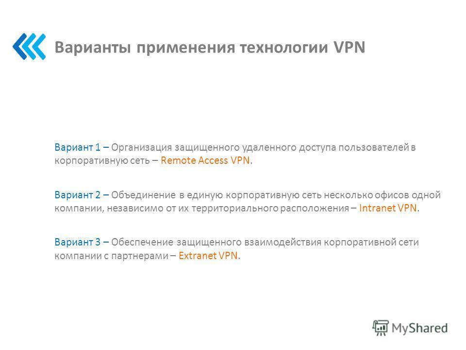 Варианты применения технологии VPN Вариант 1 – Организация защищенного удаленного доступа пользователей в корпоративную сеть – Remote Access VPN. Вариант 2 – Объединение в единую корпоративную сеть несколько офисов одной компании, независимо от их те