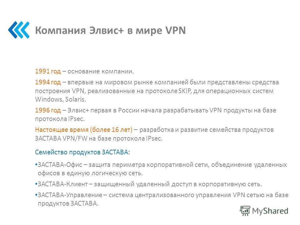 Компания Элвис+ в мире VPN 1991 год – основание компании. 1994 год – впервые на мировом рынке компанией были представлены средства построения VPN, реализованные на протоколе SKIP, для операционных систем Windows, Solaris. 1996 год – Элвис+ первая в Р