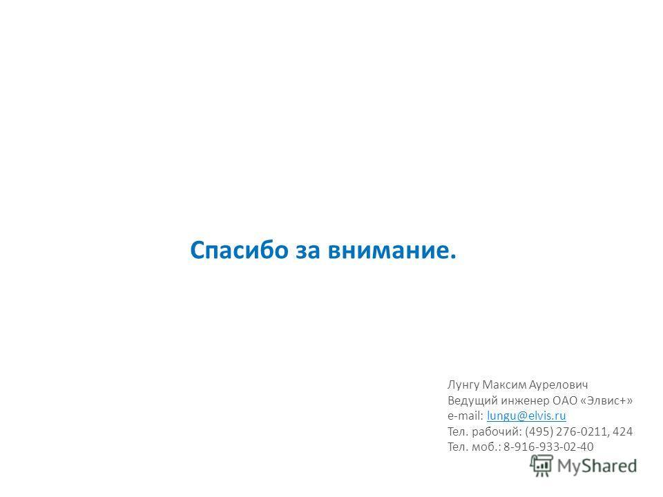 Спасибо за внимание. Лунгу Максим Аурелович Ведущий инженер ОАО «Элвис+» e-mail: lungu@elvis.rulungu@elvis.ru Тел. рабочий: (495) 276-0211, 424 Тел. моб.: 8-916-933-02-40