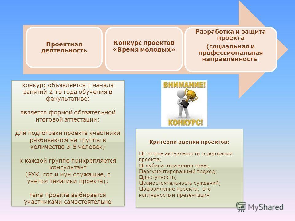 Критерии оценки проектов: степень актуальности содержания проекта; глубина отражения темы; аргументированный подход; доступность; самостоятельность суждений; оформление проекта, его наглядность и презентация Критерии оценки проектов: степень актуальн