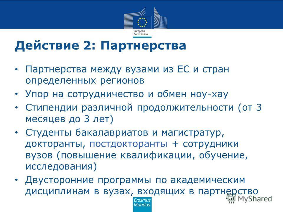 Действие 2: Партнерства Партнерства между вузами из ЕС и стран определенных регионов Упор на сотрудничество и обмен ноу-хау Стипендии различной продолжительности (от 3 месяцев до 3 лет) Студенты бакалавриатов и магистратур, докторанты, постдокторанты