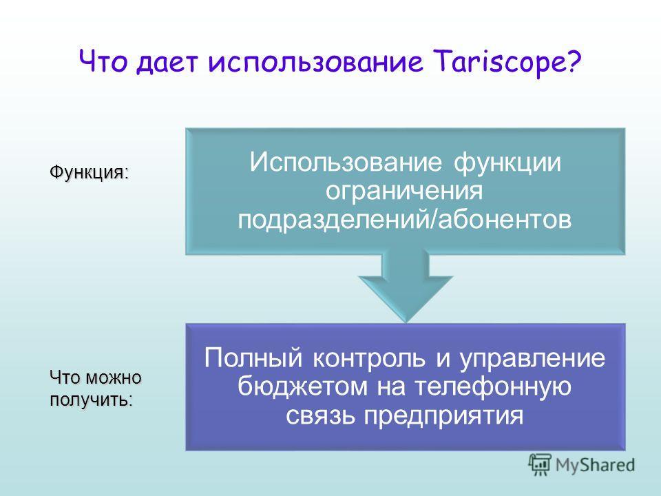 Что дает использование Tariscope? Функция: Что можно получить: Полный контроль и управление бюджетом на телефонную связь предприятия Использование функции ограничения подразделений/абонентов