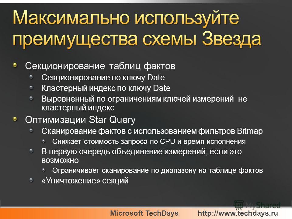 Microsoft TechDayshttp://www.techdays.ru Секционирование таблиц фактов Секционирование по ключу Date Кластерный индекс по ключу Date Выровненный по ограничениям ключей измерений не кластерный индекс Оптимизации Star Query Сканирование фактов с исполь