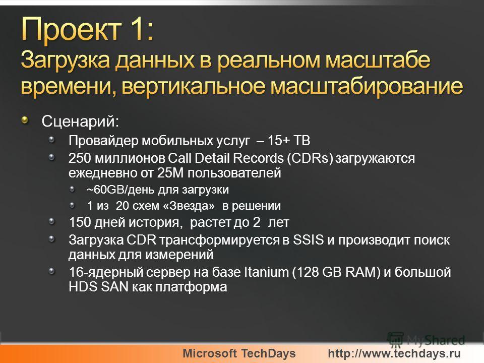 Microsoft TechDayshttp://www.techdays.ru Сценарий: Провайдер мобильных услуг – 15+ TB 250 миллионов Call Detail Records (CDRs) загружаются ежедневно от 25M пользователей ~60GB/день для загрузки 1 из 20 схем «Звезда» в решении 150 дней история, растет