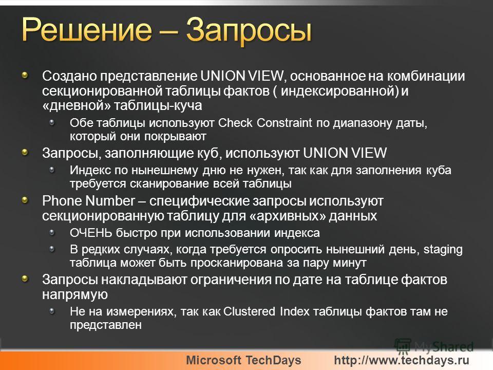 Microsoft TechDayshttp://www.techdays.ru Создано представление UNION VIEW, основанное на комбинации секционированной таблицы фактов ( индексированной) и «дневной» таблицы-куча Обе таблицы используют Check Constraint по диапазону даты, который они пок