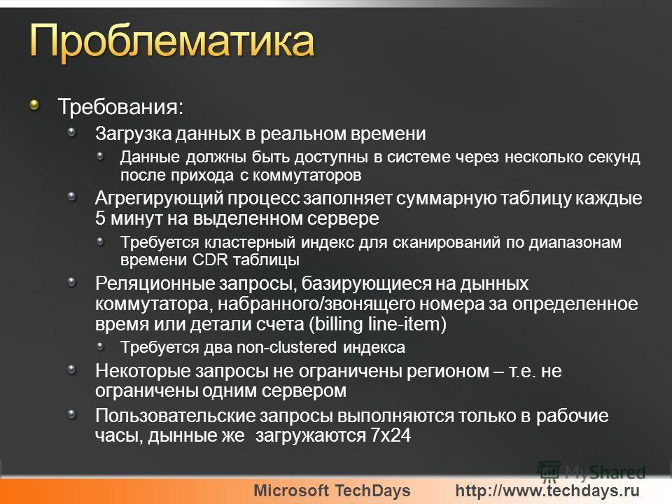 Microsoft TechDayshttp://www.techdays.ru Требования: Загрузка данных в реальном времени Данные должны быть доступны в системе через несколько секунд после прихода с коммутаторов Агрегирующий процесс заполняет суммарную таблицу каждые 5 минут на выдел