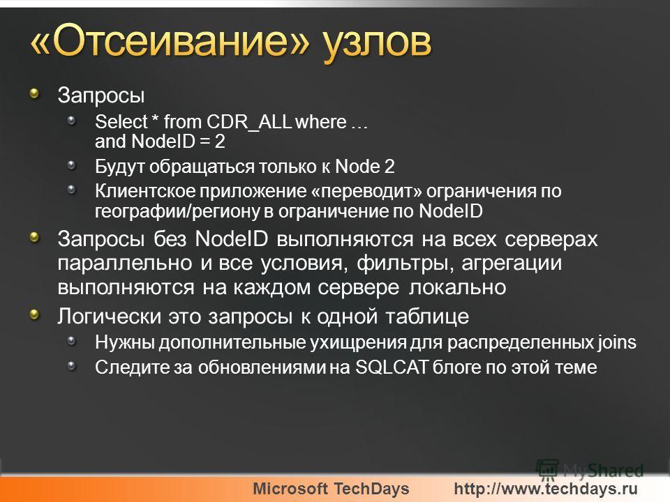 Microsoft TechDayshttp://www.techdays.ru Запросы Select * from CDR_ALL where … and NodeID = 2 Будут обращаться только к Node 2 Клиентское приложение «переводит» ограничения по географии/региону в ограничение по NodeID Запросы без NodeID выполняются н