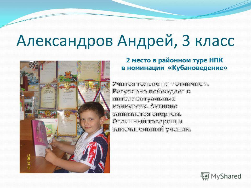 Александров Андрей, 3 класс