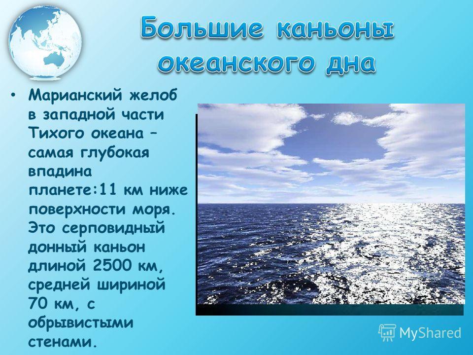 Марианский желоб в западной части Тихого океана – самая глубокая впадина планете:11 км ниже поверхности моря. Это серповидный донный каньон длиной 2500 км, средней шириной 70 км, с обрывистыми стенами.