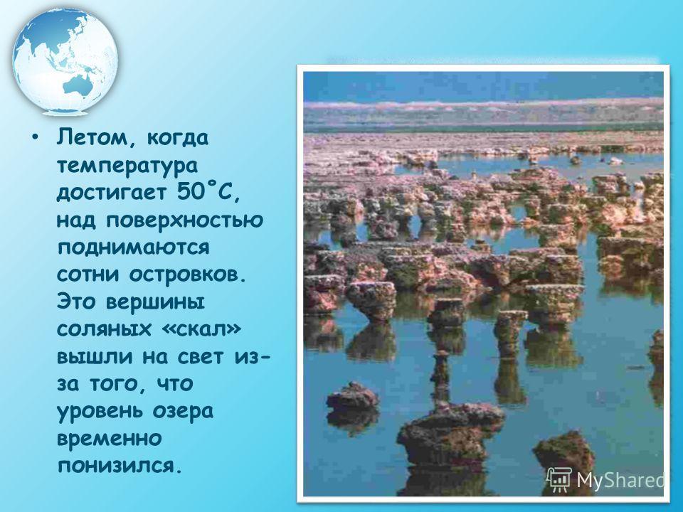 Летом, когда температура достигает 50˚С, над поверхностью поднимаются сотни островков. Это вершины соляных «скал» вышли на свет из- за того, что уровень озера временно понизился.