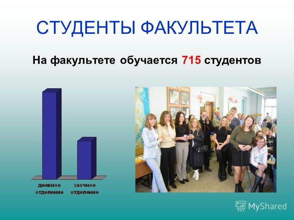 СТУДЕНТЫ ФАКУЛЬТЕТА На факультете обучается 715 студентов