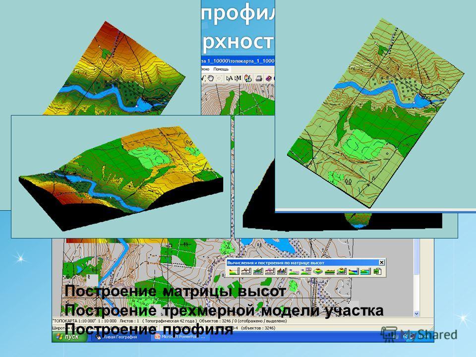 Построение профиля участка земной поверхности Построение матрицы высот Построение трехмерной модели участка Построение профиля