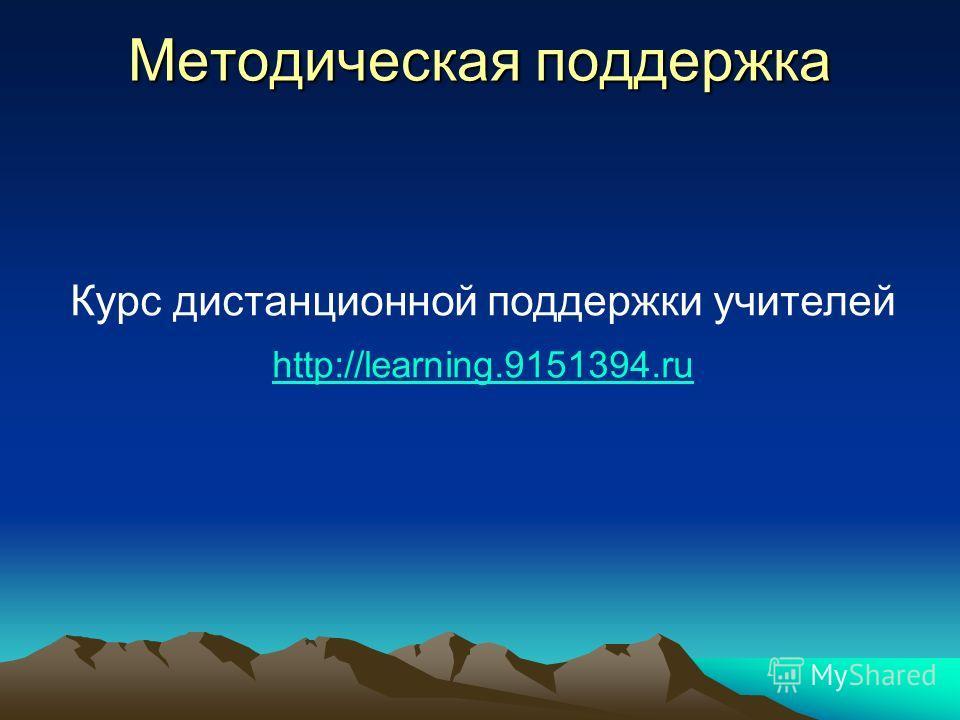 Методическая поддержка Курс дистанционной поддержки учителей http://learning.9151394.ru