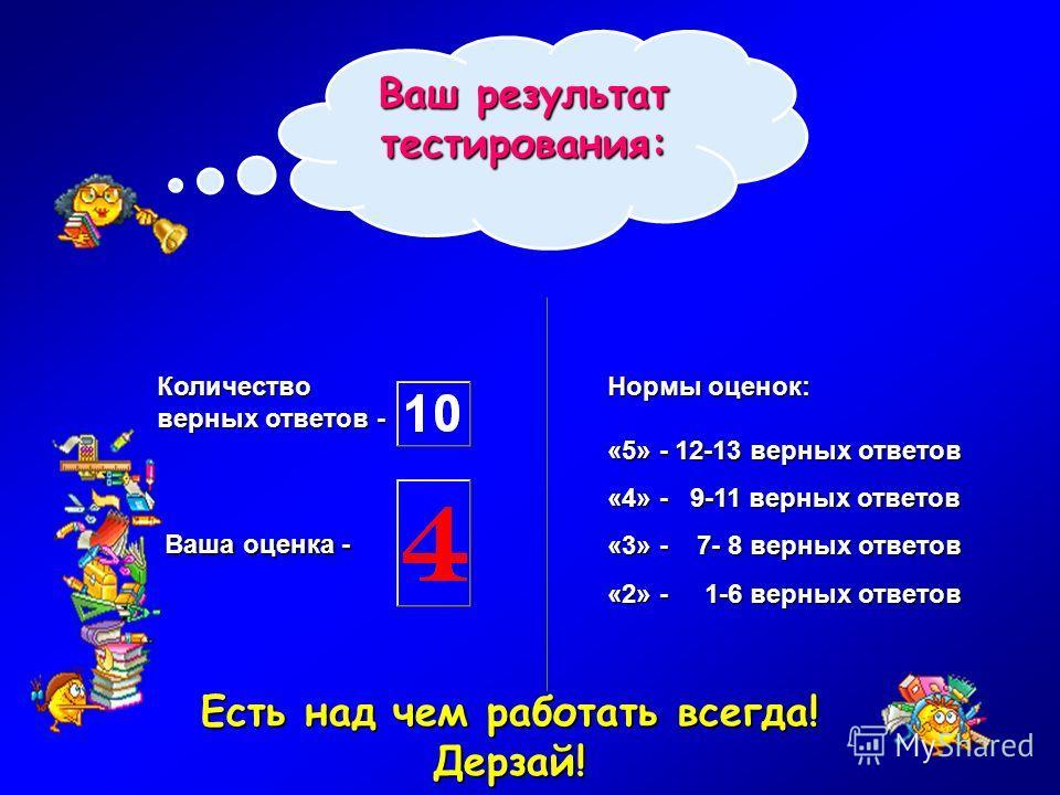 Ваша оценка - Нормы оценок: «5» - 12-13 верных ответов «4» - 9-11 верных ответов «3» - 7- 8 верных ответов «2» - 1-6 верных ответов Количество верных ответов - Есть над чем работать всегда! Дерзай! Ваш результат тестирования: