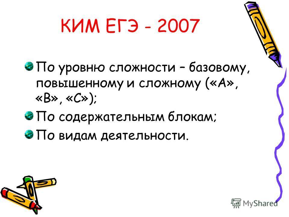 КИМ ЕГЭ - 2007 По уровню сложности – базовому, повышенному и сложному («А», «В», «С»); По содержательным блокам; По видам деятельности.