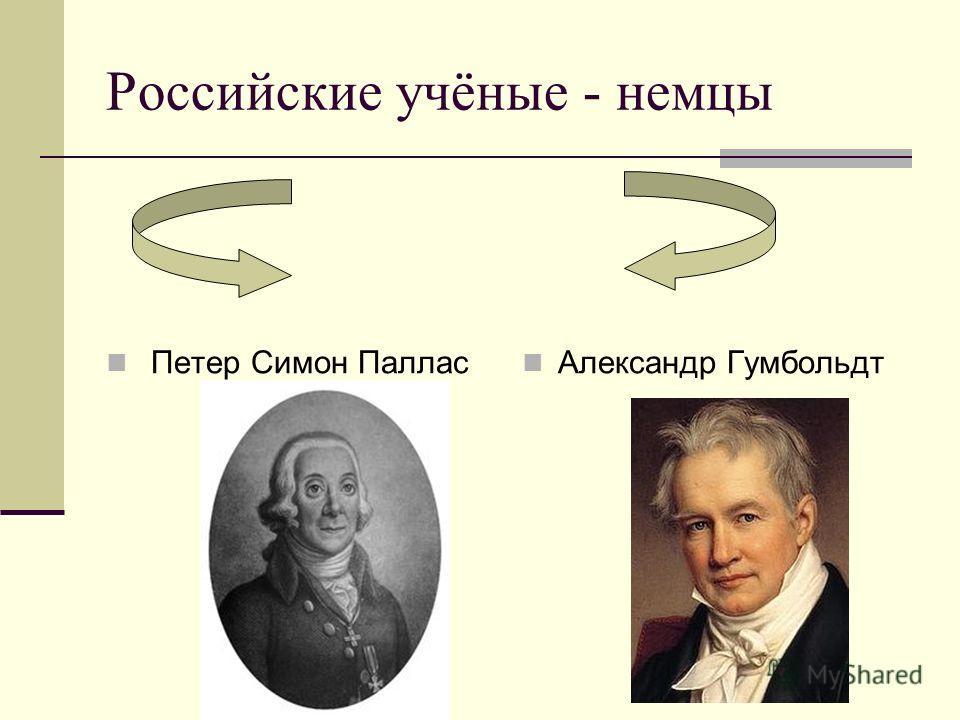 Российские учёные - немцы Петер Симон Паллас Александр Гумбольдт