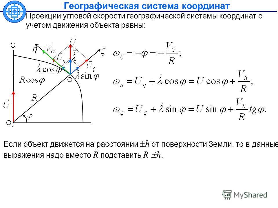 Географическая система координат Проекции угловой скорости географической системы координат с учетом движения объекта равны: Если объект движется на расстоянии h от поверхности Земли, то в данные выражения надо вместо R подставить R h. ОзОз С О