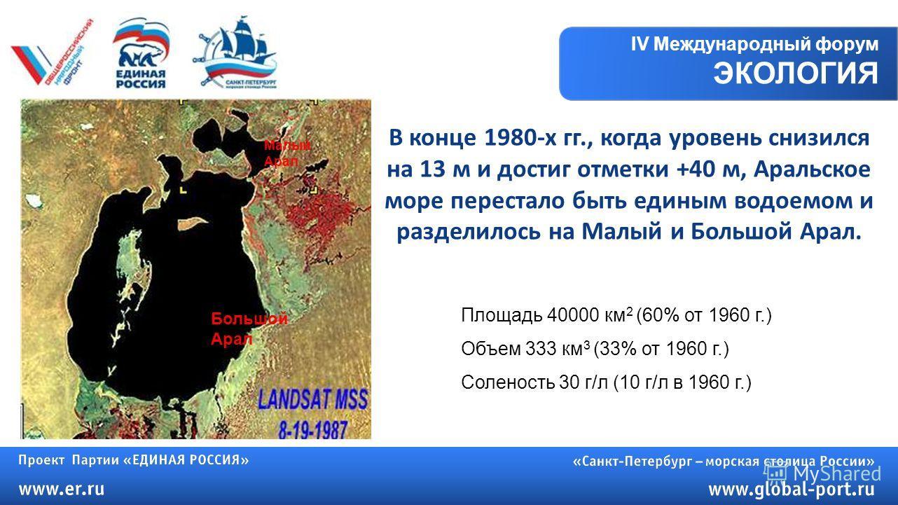 IV Международный форум ЭКОЛОГИЯ Большой Арал Малый Арал В конце 1980-х гг., когда уровень снизился на 13 м и достиг отметки +40 м, Аральское море перестало быть единым водоемом и разделилось на Малый и Большой Арал. Площадь 40000 км 2 (60% от 1960 г.