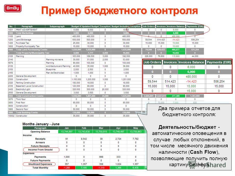 Два примера отчетов для бюджетного контроля: Деятельность/бюджет - автоматические оповещения в случае любых отклонений, в том числе месячного движения наличности (Cash Flow), позволяющие получить полную картину бизнеса Два примера отчетов для бюджетн