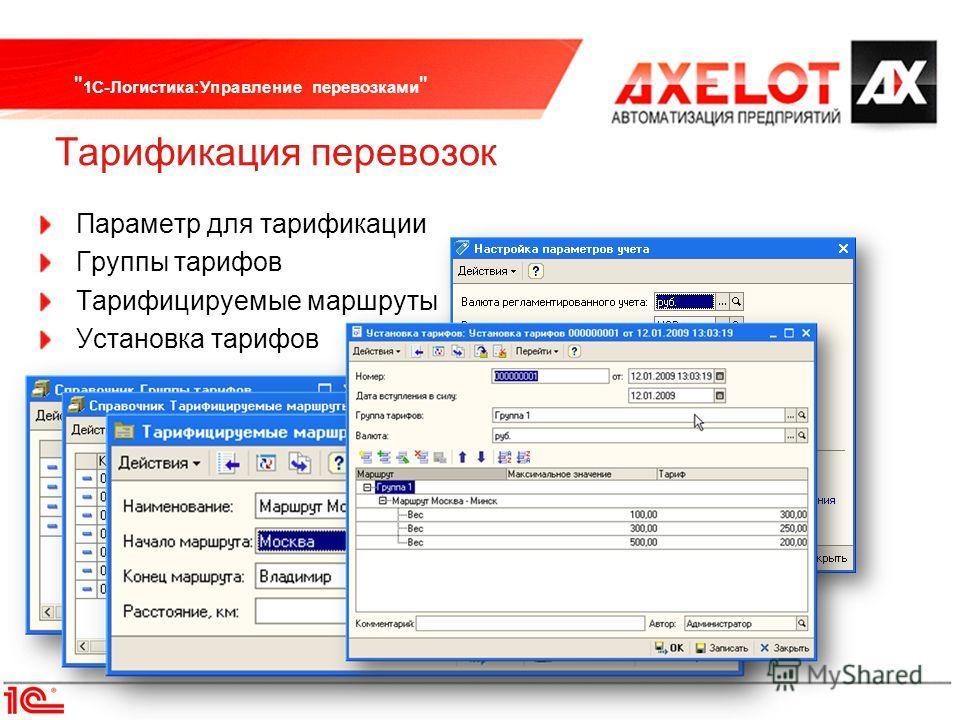 1С-Логистика:Управление перевозками  Тарификация перевозок Параметр для тарификации Группы тарифов Тарифицируемые маршруты Установка тарифов