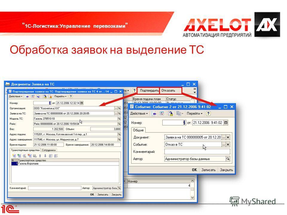 1С-Логистика:Управление перевозками  Обработка заявок на выделение ТС