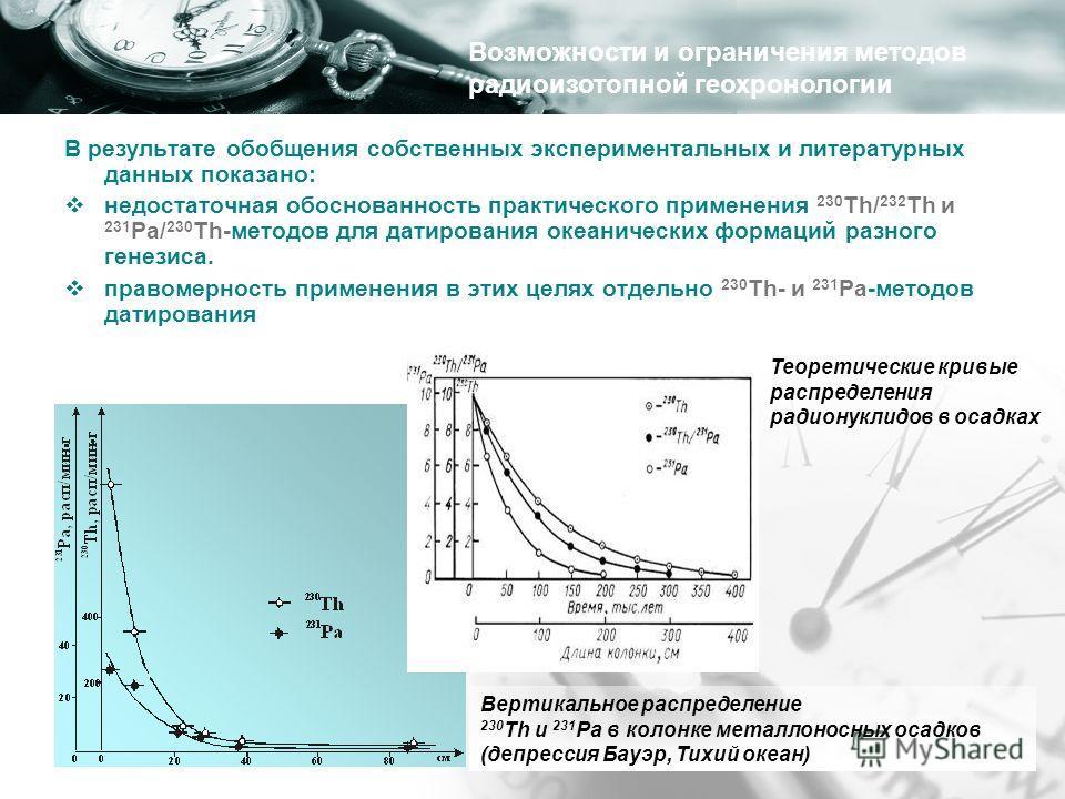 В результате обобщения собственных экспериментальных и литературных данных показано: недостаточная обоснованность практического применения 230 Th/ 232 Th и 231 Pa/ 230 Th-методов для датирования океанических формаций разного генезиса. правомерность п