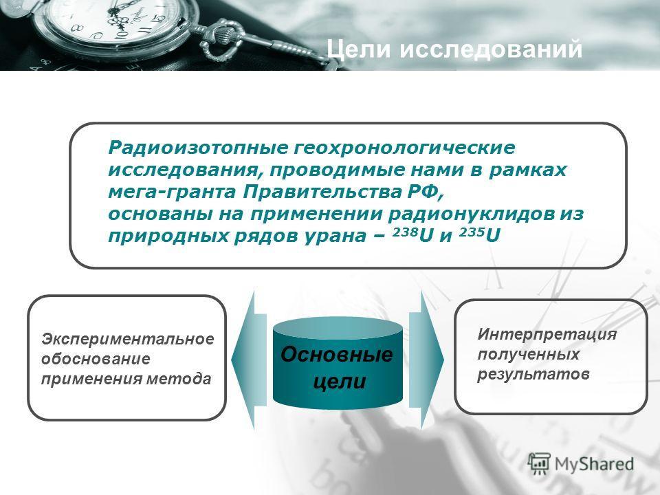 Радиоизотопные геохронологические исследования, проводимые нами в рамках мега-гранта Правительства РФ, основаны на применении радионуклидов из природных рядов урана – 238 U и 235 U Основные цели Экспериментальное обоснование применения метода Интерпр