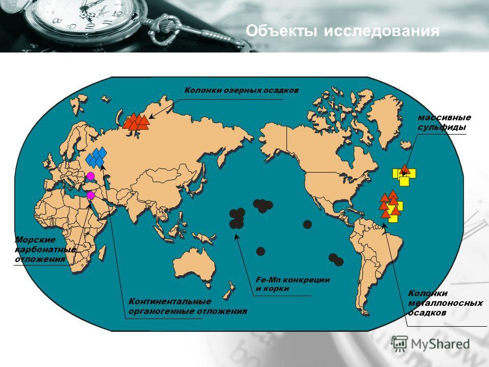 Fe-Mn конкреции и корки массивные сульфиды Колонки металлоносных осадков Колонки озерных осадков Континентальные органогенные отложения Объекты исследования Морские карбонатные отложения