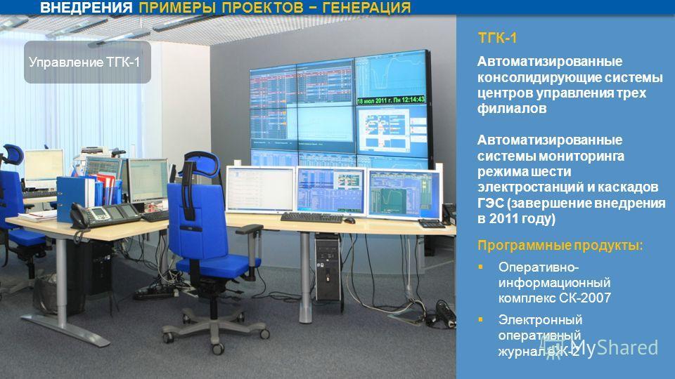 ТГК-1 Автоматизированные консолидирующие системы центров управления трех филиалов Автоматизированные системы мониторинга режима шести электростанций и каскадов ГЭС (завершение внедрения в 2011 году) Программные продукты: Оперативно- информационный ко
