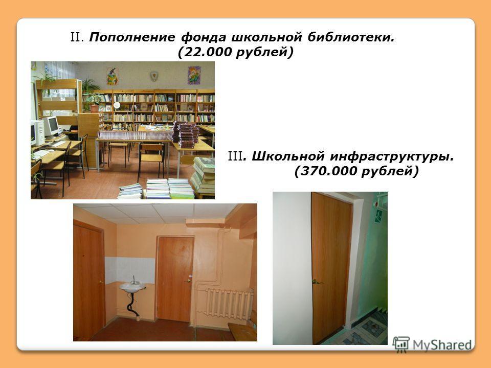 II. Пополнение фонда школьной библиотеки. (22.000 рублей) III. Школьной инфраструктуры. (370.000 рублей)
