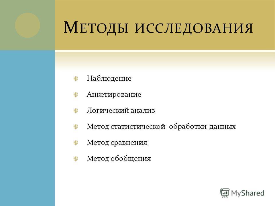 М ЕТОДЫ ИССЛЕДОВАНИЯ Наблюдение Анкетирование Логический анализ Метод статистической обработки данных Метод сравнения Метод обобщения