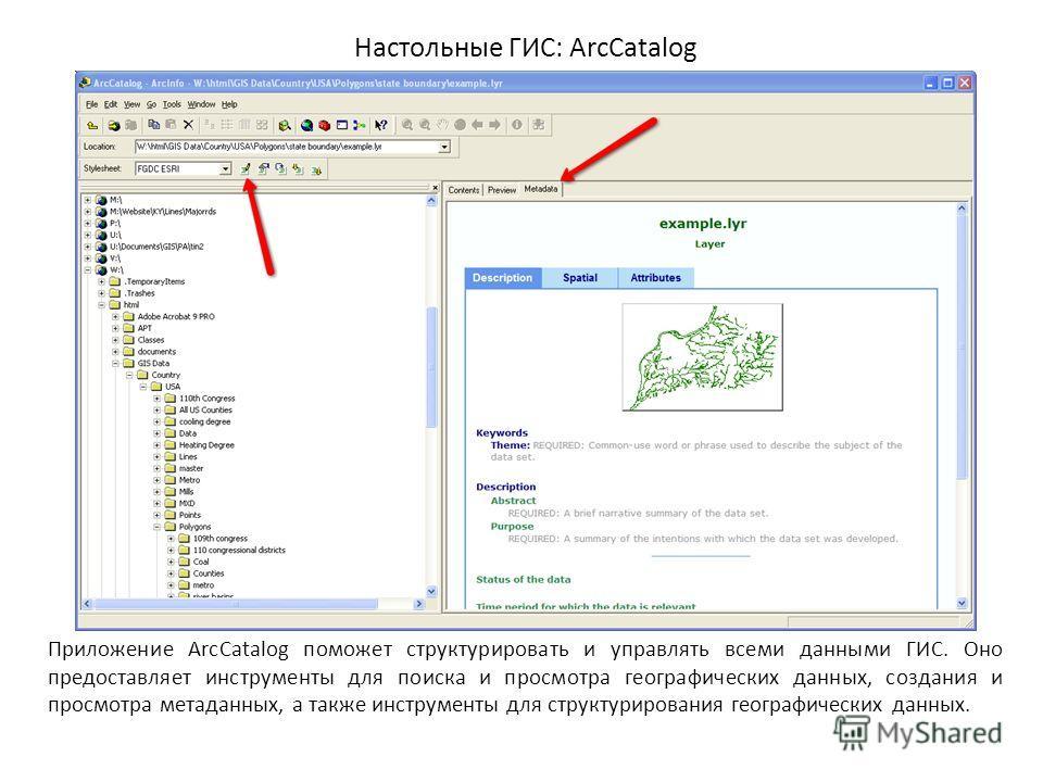Настольные ГИС: ArcCatalog Приложение ArcCatalog поможет структурировать и управлять всеми данными ГИС. Оно предоставляет инструменты для поиска и просмотра географических данных, создания и просмотра метаданных, а также инструменты для структурирова