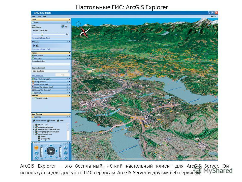 Настольные ГИС: ArcGIS Explorer ArcGIS Explorer - это бесплатный, лёгкий настольный клиент для ArcGIS Server. Он используется для доступа к ГИС-сервисам ArcGIS Server и другим веб-сервисам.