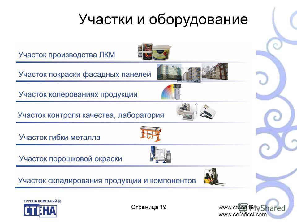 www.stena18.ru www.coloricci.com ё Страница 19 Участки и оборудование