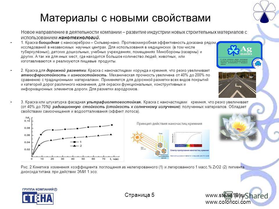 www.stena18.ru www.coloricci.com ё Новое направление в деятельности компании – развитие индустрии новых строительных материалов с использованием нанотехнологий. 1. Краска биоцидная с наносеребром – Сильвер-нано. Противомикробная эффективность доказан