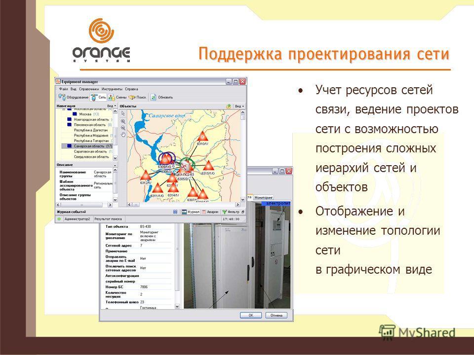 Поддержка проектирования сети Учет ресурсов сетей связи, ведение проектов сети с возможностью построения сложных иерархий сетей и объектов Отображение и изменение топологии сети в графическом виде