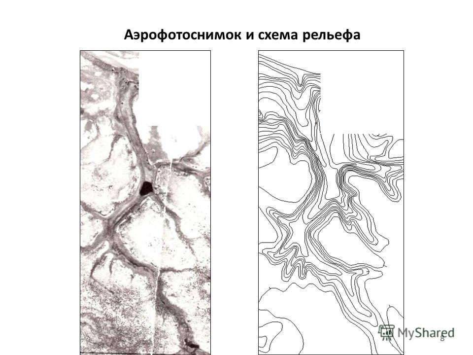 Аэрофотоснимок и схема рельефа 8