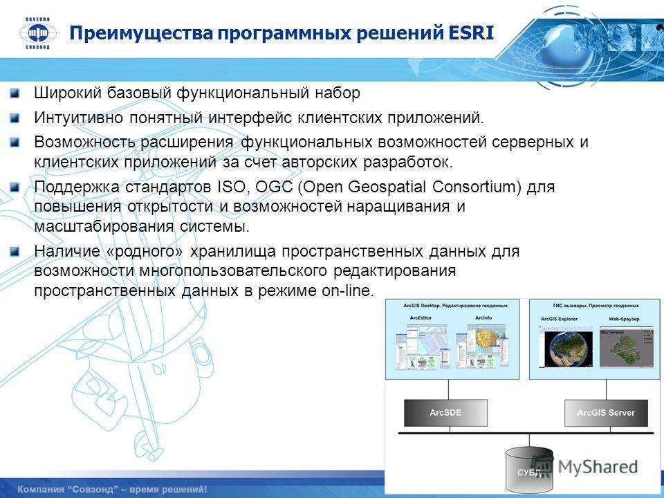 Преимущества программных решений ESRI Широкий базовый функциональный набор Интуитивно понятный интерфейс клиентских приложений. Возможность расширения функциональных возможностей серверных и клиентских приложений за счет авторских разработок. Поддерж