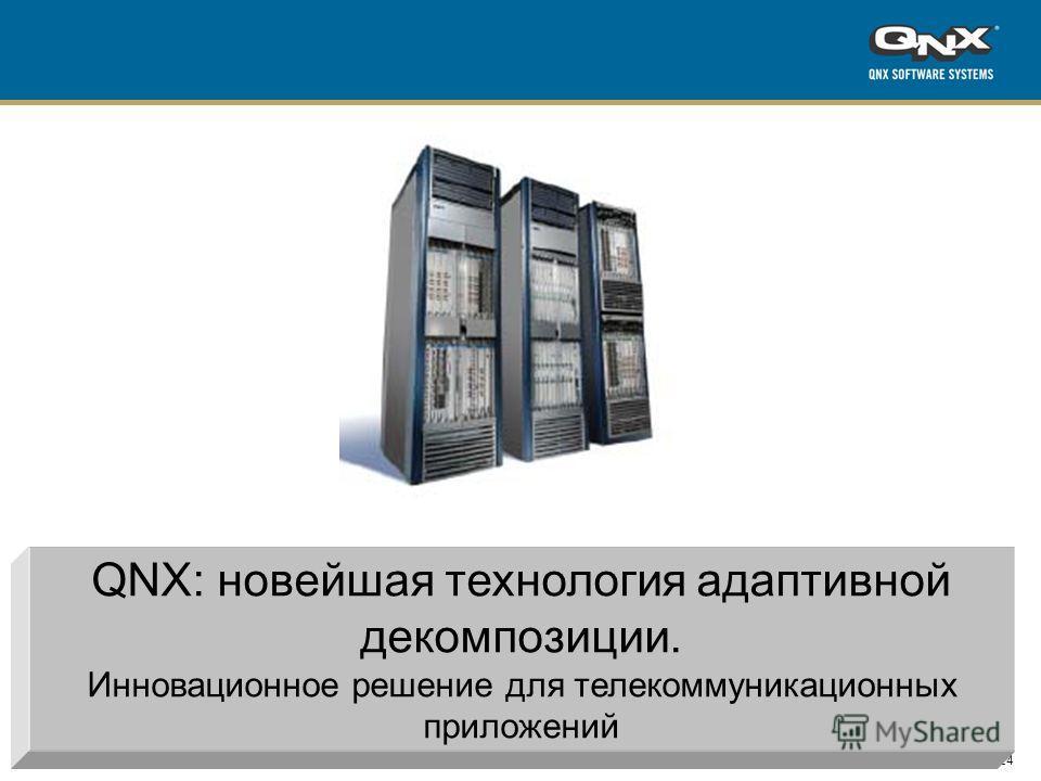 24 All content copyright QNX Software Systems QNX: новейшая технология адаптивной декомпозиции. Инновационное решение для телекоммуникационных приложений