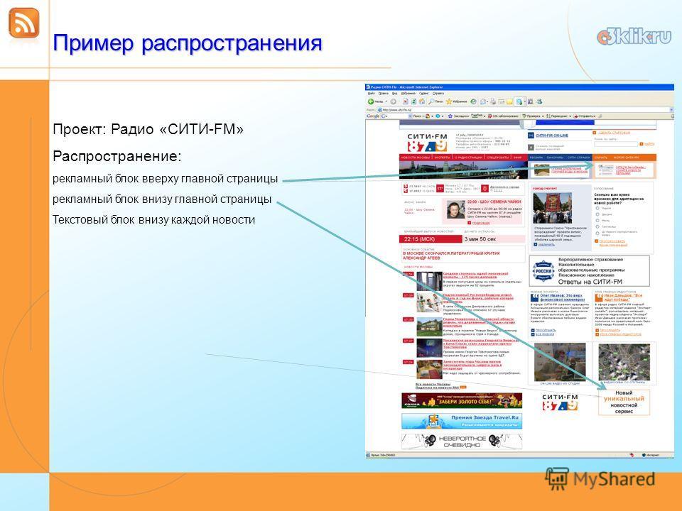 Пример распространения Проект: Радио «СИТИ-FM» Распространение: рекламный блок вверху главной страницы рекламный блок внизу главной страницы Текстовый блок внизу каждой новости