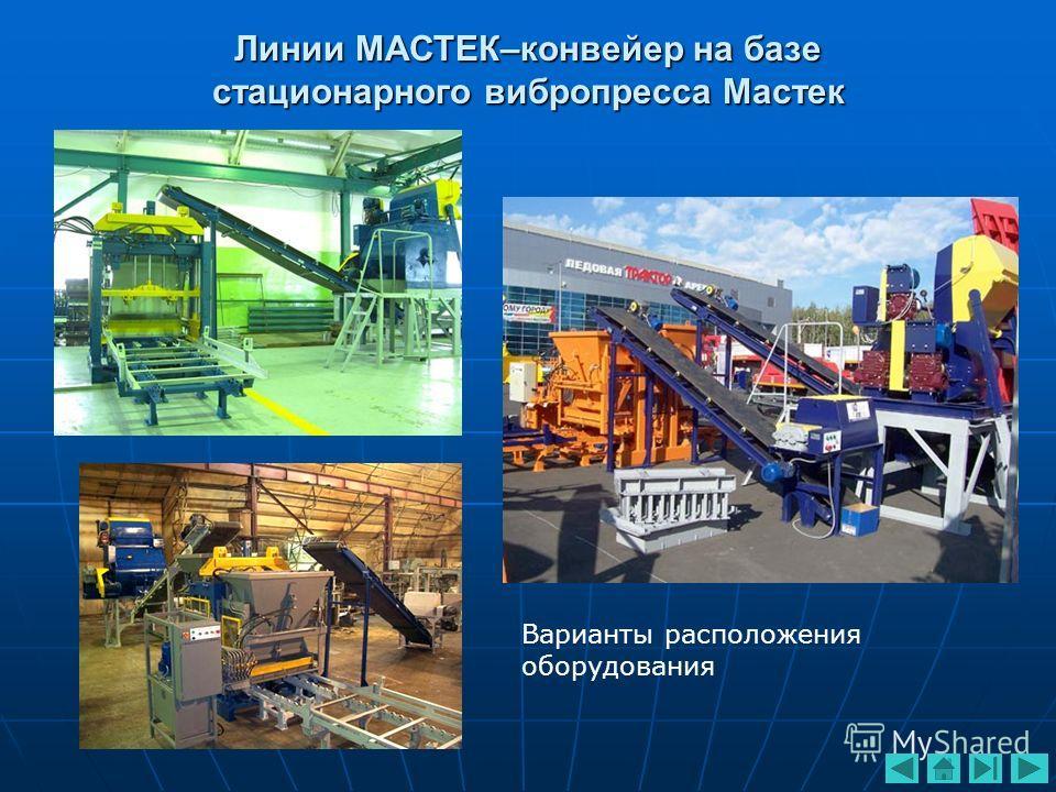 Линии МАСТЕК–конвейер на базе стационарного вибропресса Мастек Варианты расположения оборудования