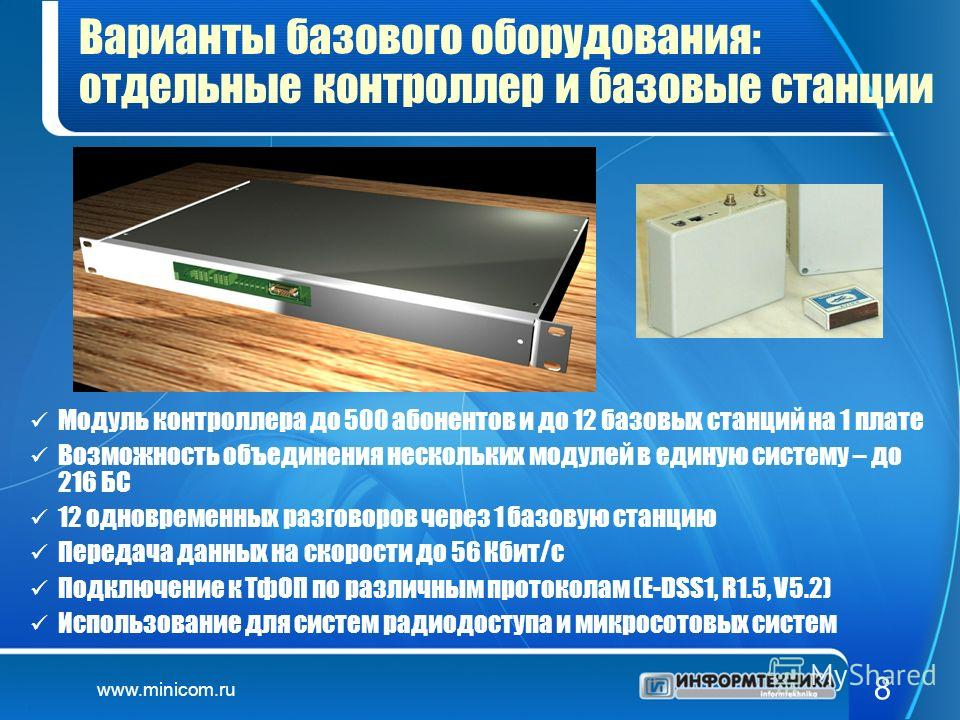 www.minicom.ru 8 Варианты базового оборудования: отдельные контроллер и базовые станции Модуль контроллера до 500 абонентов и до 12 базовых станций на 1 плате Возможность объединения нескольких модулей в единую систему – до 216 БС 12 одновременных ра